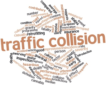 accident rate: Abstract word cloud for Traffic collision with related tags and terms Stock Photo