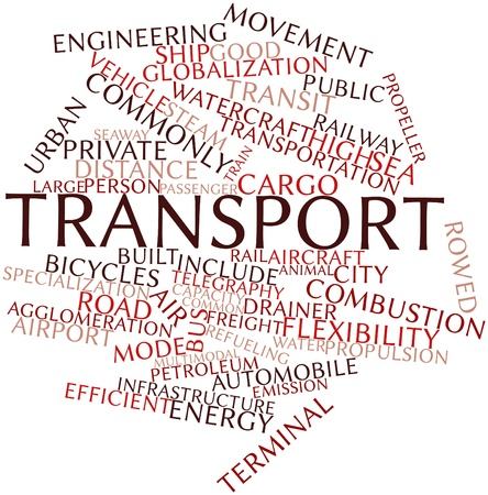 quantities: Abstract word cloud for Transport with related tags and terms Stock Photo