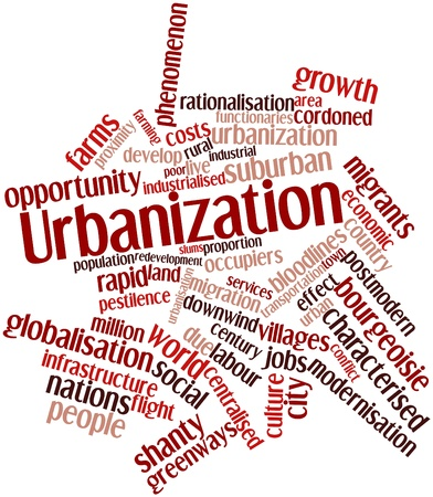 characterised: Abstract word cloud for Urbanization with related tags and terms Stock Photo