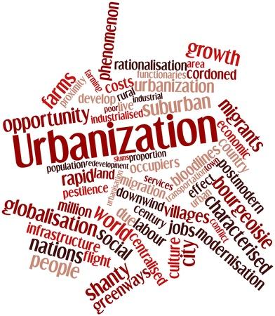 demografia: Nube palabra abstracta para la urbanización con las etiquetas y términos relacionados Foto de archivo