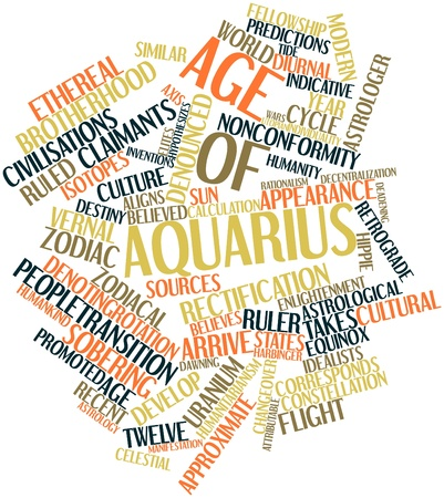 Abstract word cloud for Age of Aquarius with related tags and terms Stock Photo - 16502486