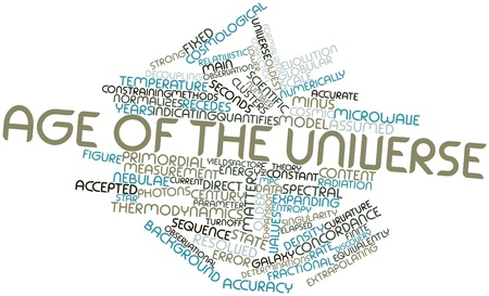 observational: Abstract word cloud for Age of the universe with related tags and terms Stock Photo