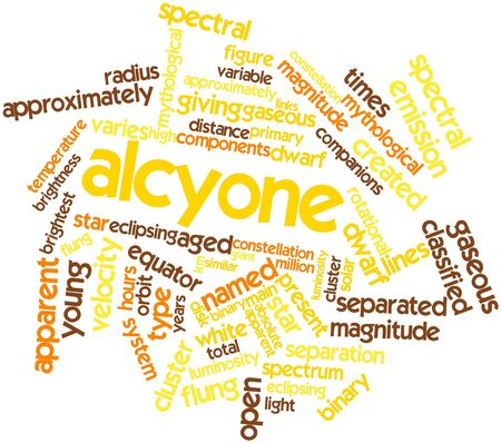 gaseous: Abstract word cloud for Alcyone with related tags and terms Stock Photo