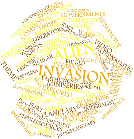 Nube palabra abstracta para la invasión extranjera con etiquetas y términos relacionados Foto de archivo - 16502579