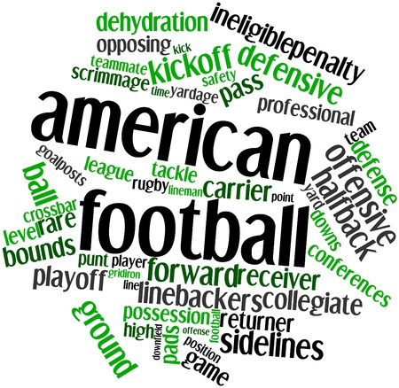 scrimmage: Abstract word cloud for American football with related tags and terms