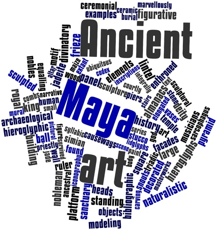 enthroned: Abstract word cloud for Ancient Maya art with related tags and terms Stock Photo