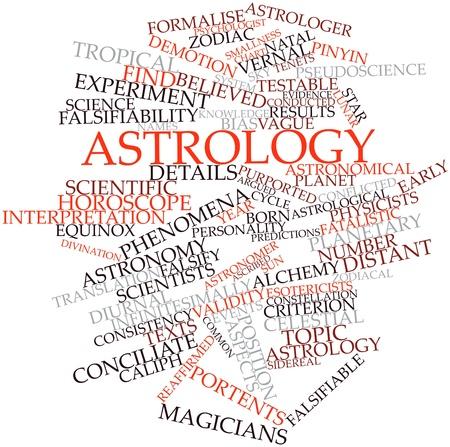 validez: Nube de palabras Resumen de la astrología con las etiquetas y términos relacionados Foto de archivo