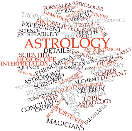 purported: Word cloud astratto per Astrologia con tag correlati e termini Archivio Fotografico