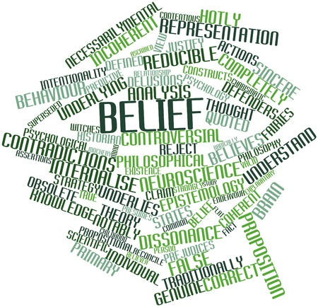 valid: Abstract word cloud for Belief with related tags and terms Stock Photo