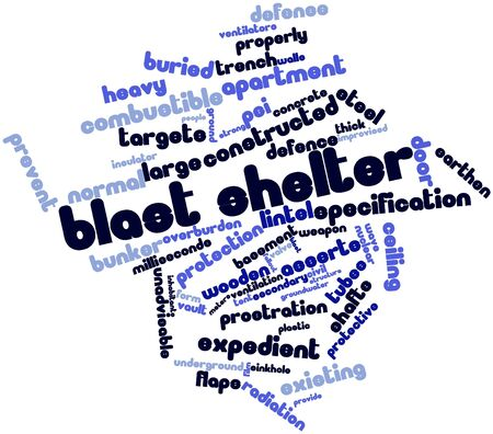 welded: Abstract word cloud for Blast shelter with related tags and terms Stock Photo