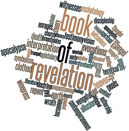 theology: Abstract word cloud for Book of Revelation with related tags and terms