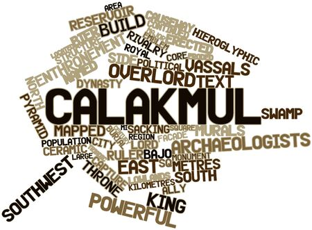 enthroned: Abstract word cloud for Calakmul with related tags and terms Stock Photo
