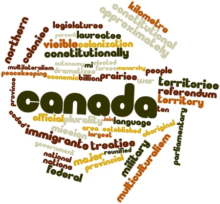 canada aboriginal: Abstract word cloud for Canada with related tags and terms Stock Photo
