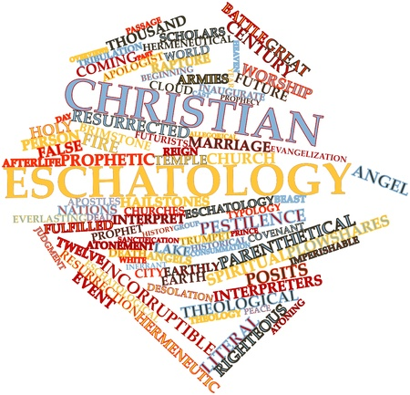 righteous: Abstract word cloud for Christian eschatology with related tags and terms Stock Photo