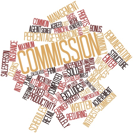 Abstract word cloud for Commission with related tags and terms photo