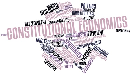 constraints: Abstract word cloud for Constitutional economics with related tags and terms Stock Photo