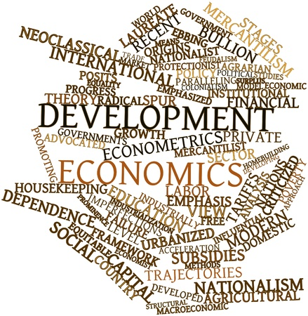 credited: Abstract word cloud for Development economics with related tags and terms Stock Photo