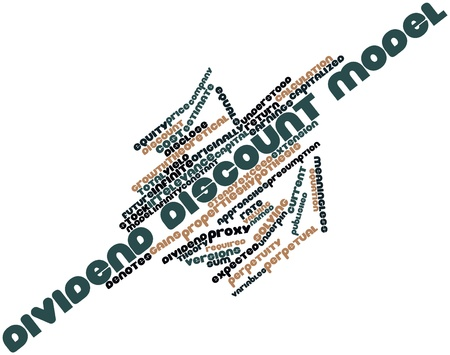 meaningless: Abstract word cloud for Dividend discount model with related tags and terms Stock Photo