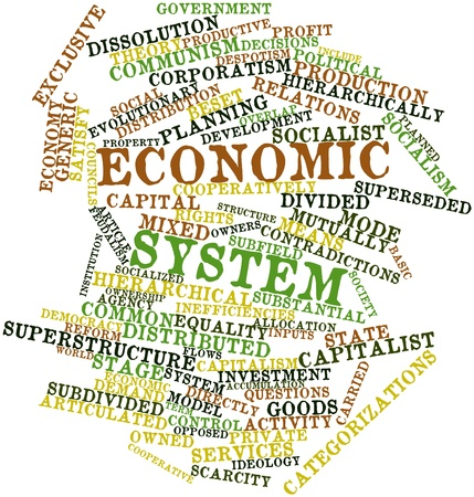 Abstract word cloud for Economic system with related tags and terms