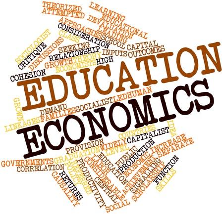 alumnos en clase: Nube palabra abstracta para la economía de Educación con las etiquetas y términos relacionados Foto de archivo