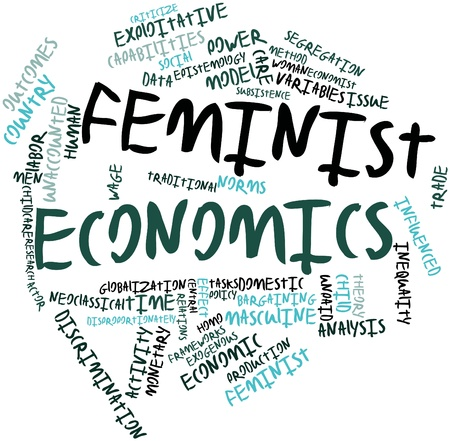 epistemology: Abstract word cloud for Feminist economics with related tags and terms Stock Photo