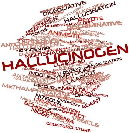 dissociation: Abstract word cloud for Hallucinogen with related tags and terms Stock Photo