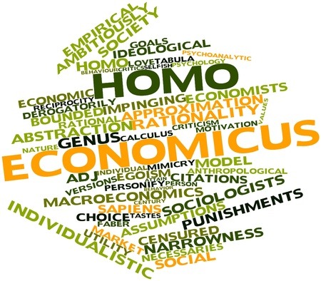 homo: Abstract word cloud for Homo economicus with related tags and terms Stock Photo
