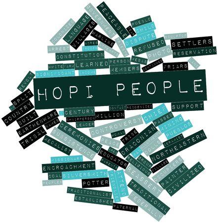 hopi: Word cloud astratto per popolo Hopi con tag correlati e termini
