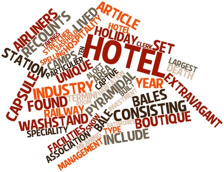 job functions: Abstract word cloud for Hotel with related tags and terms