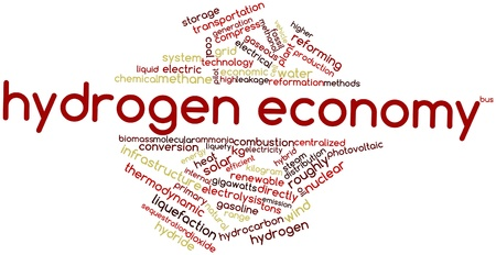 hydrogen: Abstract word cloud for Hydrogen economy with related tags and terms Stock Photo