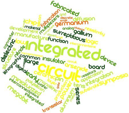 silicio: Nube palabra abstracta para circuitos integrados con las etiquetas y términos relacionados
