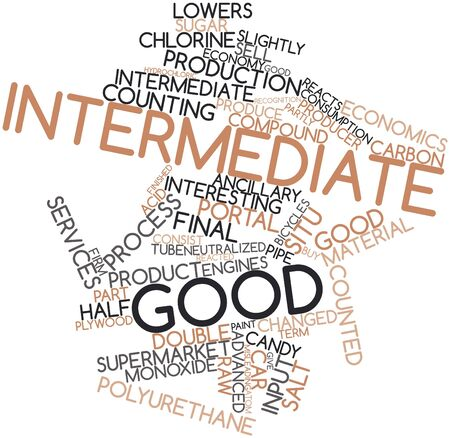 reacts: Abstract word cloud for Intermediate good with related tags and terms Stock Photo