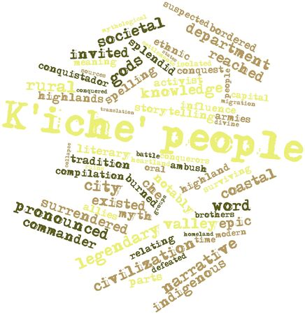 conquistador: Abstract word cloud for Kiche people with related tags and terms