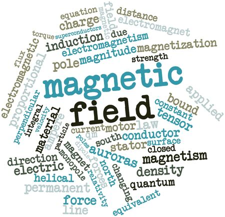 divergence: Abstract word cloud for Magnetic field with related tags and terms Stock Photo