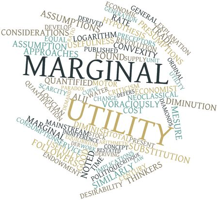 implications: Abstract word cloud for Marginal utility with related tags and terms Stock Photo