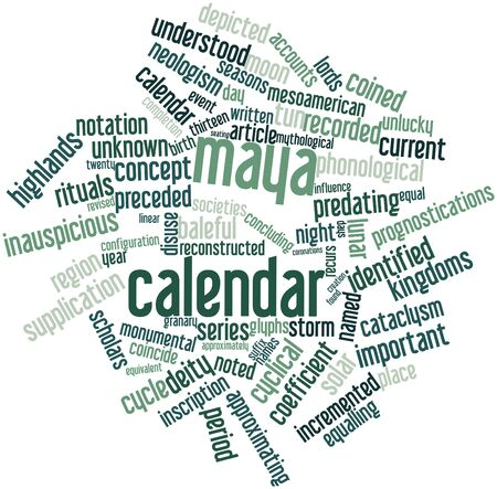 preceded: Abstract word cloud for Maya calendar with related tags and terms Stock Photo