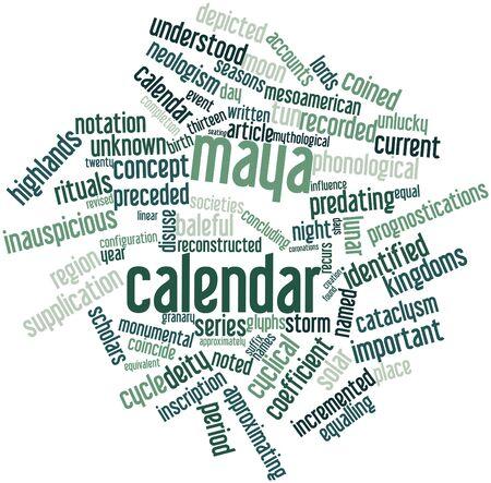 coincidir: Nube palabra abstracta para el calendario maya con las etiquetas y términos relacionados