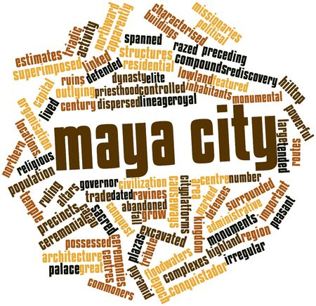 characterised: Abstract word cloud for Maya city with related tags and terms Stock Photo
