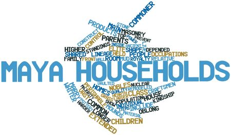 porch: Abstract word cloud for Maya households with related tags and terms Stock Photo