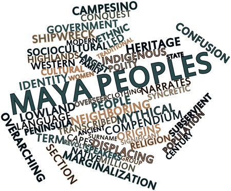 prostitution: Abstract word cloud for Maya peoples with related tags and terms Stock Photo