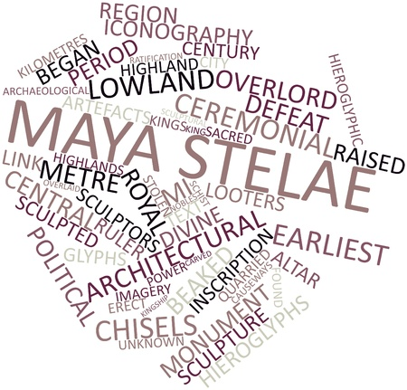 Abstract word cloud for Maya stelae with related tags and terms Stock Photo - 16501608