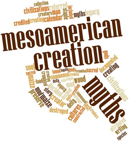 credited: Abstract word cloud for Mesoamerican creation myths with related tags and terms Stock Photo