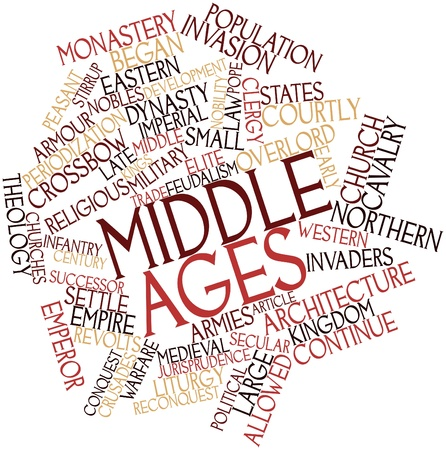 cavalry: Abstract word cloud for Middle Ages with related tags and terms Stock Photo