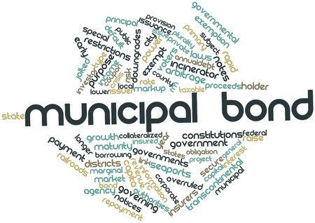 issuer: Abstract word cloud for Municipal bond with related tags and terms