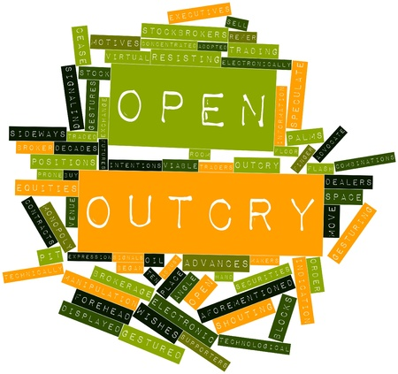 outcry: Abstract word cloud for Open outcry with related tags and terms