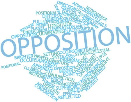 brighter: Abstract word cloud for Opposition with related tags and terms Stock Photo