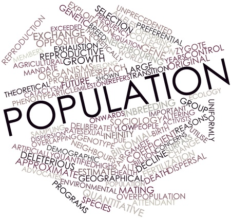 Abstract word cloud for Population with related tags and terms photo