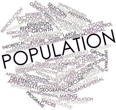 población: Nube palabra abstracta para la Población con etiquetas y términos relacionados