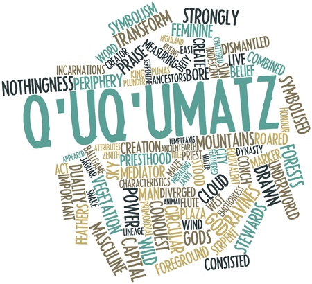 Abstract word cloud for Q'uq'umatz with related tags and terms Stock Photo - 16502282