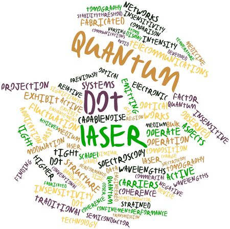 quantum: Abstract word cloud for Quantum dot laser with related tags and terms Stock Photo